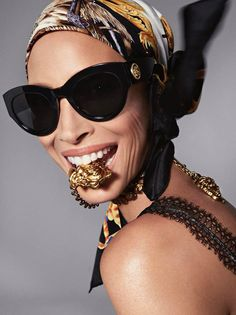 Christy Turlington keeps it iconic with the new Tribute sunglasses with golden Medusa details. #VersaceEyewear