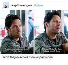 I wore my Ant-Man shirt in the theater. I was on board with this. Marvel Funny, Marvel Memes, Marvel Avengers, Marvel Comics, Scott Lang, Guardians Of The Galaxy, Marvel Cinematic Universe, Pop, Nerdy