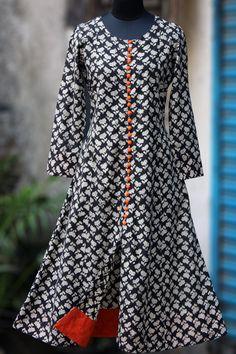 Buy Maati Crafts Black Cotton Printed Shirt Style Kurti online in India at best price. Girls Dresses Sewing, Stylish Dresses For Girls, Stylish Dress Designs, Designs For Dresses, Simple Dresses, Stylish Dress Book, Printed Kurti Designs, Simple Kurti Designs, Kurta Designs Women