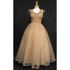 Emma Domb Tan Tulle Ball Gown w/ Gold Sequin Trim