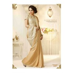 Shreeji Fashion New Arrival Designer Cream Chiffon Saree