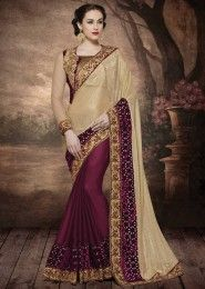 Wedding Wear Cream Georgette Embroidered Work Saree
