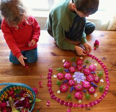 Flower mandalas -- what a beautiful way to connect children with art and nature