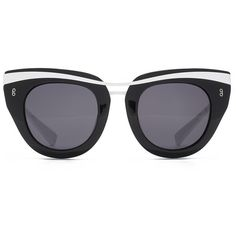 Womens Cat-Eye HOOK LDN Clique Black Cat-eye Sunglasses ($245) ❤ liked on Polyvore featuring accessories, eyewear, sunglasses, uv protection sunglasses, cat-eye glasses, white cateye sunglasses, uv protection glasses and white cateye glasses