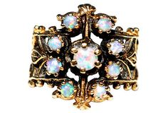 14K Gold Australian Opal Ring by VintageJewelryChick on Etsy