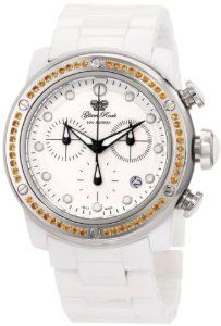 Glam Rock Women's GR50125 Aqua Rock Chronograph White Dial Ceramic Watch Glam Rock. $383.57. Water-resistant to 330 feet (100 M). Sapphire coated mineral crystal; White ceramic case and bracelet with stainless steel cover accented with yellow citrine stones. Swiss Quartz movement. White dial with black hands and silver tone hour markers; Luminous; Stainless steel bezel, crown and pushers; White inlay on crown and pushers; 54 yellow citrine stones set on stainles...