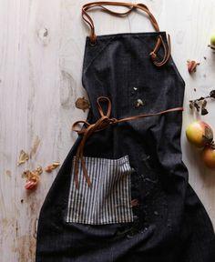DIY Schürze nähen Anleitung Kochschürze aus Denimstoff