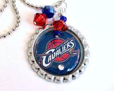 NBA Cleveland Cavaliers Pendant Necklace by Sports Jewelry Studio.  etsy.com/shop/sportsjewelrystudio.  $10.00.