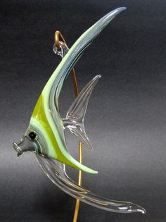 Green Glass Fish Ornament  by:-Morning Light Glass