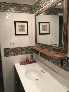 Spray painted the ugly yellow vanity with Rusoleum paint. Vanity painted in 'peppery' by Behr. New hardware. White Subway Tile Bathroom, All White Bathroom, Yellow Bathrooms, Bathroom Photos, Bathroom Ideas, Basement Bathroom, Bath Ideas, Bathroom Designs, Vinyl Wall Tiles