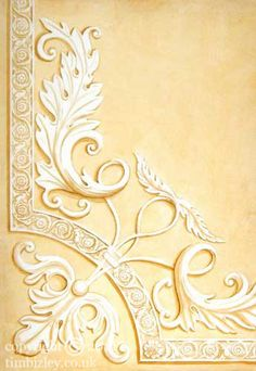 trompe l'oeil of architectural acanthus leaf ornamental plaster relief in grisaille