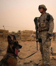 Soldier and his military dog