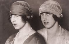 Crownprincess Helena of Romania and sister, Princess Irene of Greece, later Duchess of Aosta (at the right). 1920s.
