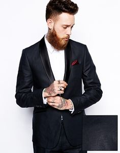 ASOS Slim Fit Tuxedo Suit Jacket in 100% Linen