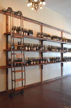 Bar Shelves or barrel room. bottle display shelves w/moving ladder.