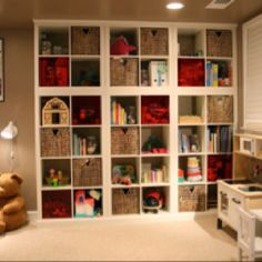 Expedit ikea hack to make built in shelving http://www.ikeahackers.net/2011/10/stacked-expedit-built-in-bookcases.html