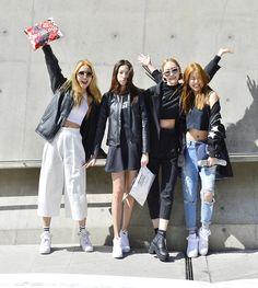Street style: Chun Ji Hye, Lee Hyun Ji, Seok Dan Bi and Kim Hyun Jin at Seoul Fashion Week Fall 2015 shot by Baek Seung Won