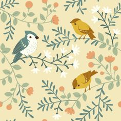 TW_12 Birds and Branches Cream Canvas