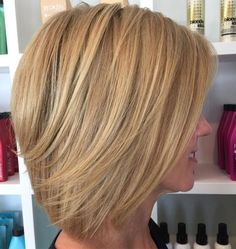 Layered Caramel Blonde Bob