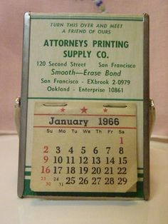 1966 Advertising Calendar Mirror by BootyButtons on Etsy, $9.99