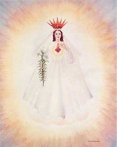 """9/25: Our Lady of America, Rome City, Indiana (1956) - Appearing to Sister Mary Ephrem: """"What I ask, have asked, and will continue to ask is reformation of life."""" Sketch by Sister Mary Ephrem. [Approved for Expression of Faith]"""