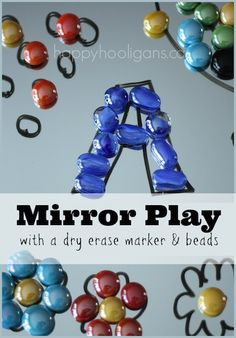 Mirrors, dry erase markers and glass beads: a wonderful fine-motor/sensory/drawing activity. (happy hooligans), could be adapted for math or ELA Drawing Activities, Motor Activities, Sensory Activities, Preschool Activities, Cutting Activities, Creative Activities, Sensory Play, Play Based Learning, Preschool Learning