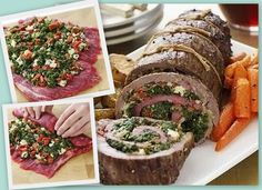Stuffed Flank Steak! - Spinach, Blue Cheese Crumbles, Red Peppers, and some bread crumbs. Roll it up and roast it - AMAZING FLAVORS!