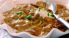 Μοσχαράκι με μανιτάρια σε κρέμα γιαουρτιού