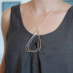 Long Pagoda necklace.  Triple handmade diamond necklace.  Sterling silver geometric jewelry