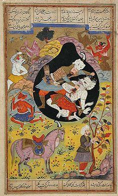 Rustam Slays the White Div, Folio from a Shahnama (Book of Kings) India, Sub-Imperial Mughal, 1608 Mughal Paintings, Islamic Paintings, Ancient Persian, Persian Culture, Iranian Art, Turkish Art, Sacred Art, Illuminated Manuscript, Islamic Art