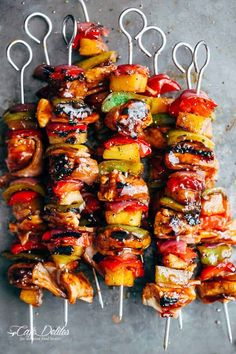 Hawaiian Chicken Bacon Pineapple Kebabs! Grilled crispy bacon and chicken smothered in a Hawaiian-style pineapple and barbecue sauce!