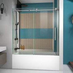 Delta Classic 400 Curve 60 in. x 62 in. Frameless Sliding Tub Door in Stainless-B55910-6030-SS - The Home Depot Frameless Sliding Shower Doors, Sliding Doors, Shower Enclosure, Shower Tub, Shower Base, Master Shower, Master Bath, Dreamline Shower, Bathtub Doors