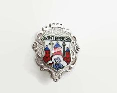 Vintage souvenir brooch of Winterberg, Germany, 800 silver and painted ceramic, mid 20th century by CardCurios on Etsy North Rhine Westphalia, Vintage Brooches, Westerns, Germany, Stamp, Ceramics, Silver, Accessories, Etsy