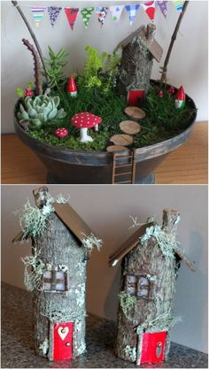 20 Magical DIY Fairy Gardens That Add Wonder To Your Home And Garden – Fairy gardens are so much fun and you just won't believe how easy they are to make. In fact, I have collected 20 magical DIY fairy gardens that will help you to add wonder to your home Diy Jardim, Fairy Tree Houses, Fairy Garden Furniture, Fairy Garden Houses, Diy Fairy House, Fairies Garden, Christmas Fairy, Christmas Decor, Fairy Garden Accessories