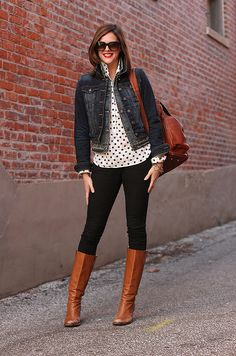 denim + black + polka dots