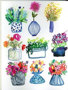 Plants and flowers in pots and vases Watercolor Cards, Watercolor Illustration, Watercolor Flowers, Watercolour, Gouache Painting, Painting & Drawing, Watercolor Paintings, Posca Art, Whimsical Art