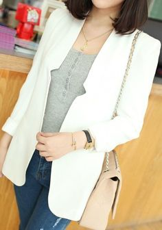 White Long Sleeve Collarless Cut Out Placket Blazer