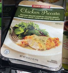 Trader Giotto's Chicken Piccata 10 #WeightWatchers #PointsPlus for one large, breaded chicken breast with sauce. (Use less sauce to cut points.) http://www.ornabakes.com/shopping-lists/trader-joes/