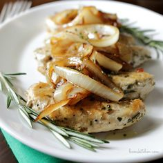 Rosemary Chicken with Sautéed Onion Sauce / http://bamskitchen.com. This wasn't that great