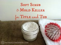 Soft Scrub & Mold Killer for Tub and Tile - Girl Meets NourishmentIngredients: 3 TB washing soda 5 TB hydrogen peroxide TB castille soap 10 drops pure tea tree essential oil Homemade Cleaning Supplies, Cleaning Recipes, Cleaning Hacks, Diy Cleaners, Cleaners Homemade, Household Cleaners, Natural Cleaning Products, Household Products, Tips & Tricks