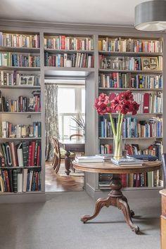 Grey bookshelves