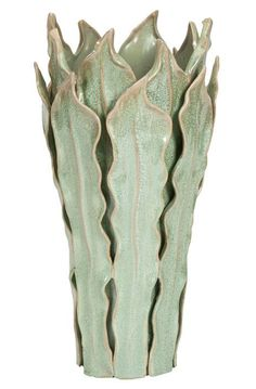 Vase- leaf-inspired design, nice idea to do something like this in polymer clay