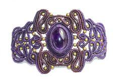 Macramé avec bracelet de bronze et d'améthyste, violet, bijoux en macramé, Macrame Bracelet, bracelet macramé, Hippie, femelle, mode, unique