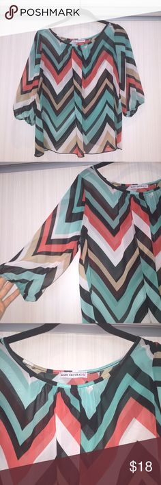 Sheer Striped Fly Away Top Never worn. Perfect to wear over a bandeau. Quarter sleeve. Fly away effect on the back (pictured) Body Central Tops Blouses
