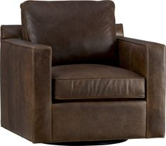Davis is a contemporary compact leather swivel designed to sit big in small spaces.  Pair it with its companion stand-alone or sectional pieces in a full-grain aniline dyed leather, all with firm but plump support.  Natural markings and an innovative tannage technique highlight the leather's natural tones and rich character.  Sectional also available. After you place your order, we will send a leather swatch via next day air for your final approval.