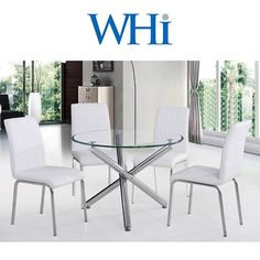 Solara Dining Set set, includes contemporary diameter dining table with tempered glass, and four contemporary chrome dining chairs. Set available in grey or white. Table Dimensions: x Chair Dimensions: x x Small Dining Area, 5 Piece Dining Set, Dining Room Sets, Dining Room Table, Dining Chairs, Contemporary Dining Sets, Contemporary Design, Black Dining Room Furniture, Modern Furniture
