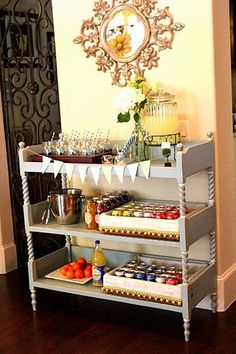Design Indulgences shared this stylish changing-table-turned-bar-cart.