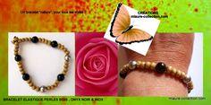 Création mlaure-collection , bracelet perles en bois, inox et onyx !