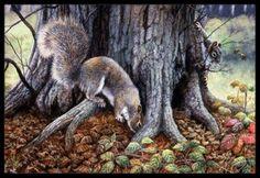 Grey Squirrels around the Tree Indoor or Outdoor Mat 18x27 BDBA0260MAT, Multi