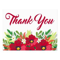 Shop Red Floral Thank You Watercolor Burgundy Flowers Postcard created by merrybrides. Thank You For Birthday Wishes, Thank You Wishes, Thank You Greetings, Thank You Notes, Thank You Gifts, Thank You Cards, Thank You Messages Gratitude, Thanks Messages, Burgundy Flowers